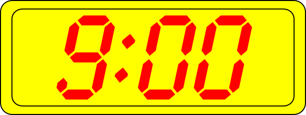 Digital Clock 9:00 Clip Art at Clker.com - vector clip art online ... free download