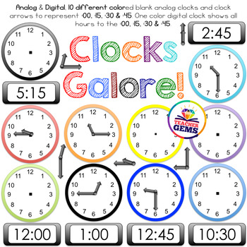 Analog to digital clipart graphic freeuse library Clock Clipart - Analog, Digital, Clock Parts, :00, :15, :30, :45 for ... graphic freeuse library