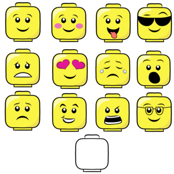 1 12 clipart black and white Emojis- Lego style- Cliparts black and white