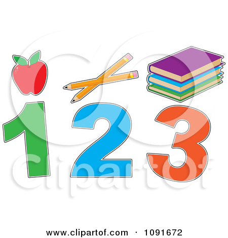 Clipart Red Apple Pencils Books And 1 2 3 - Royalty Free Vector ... image freeuse stock