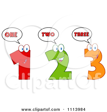 Clipart Happy Talking 1 2 And 3 Numbers - Royalty Free Vector ... banner black and white library