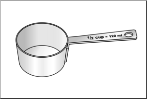 1 2 cup clipart image royalty free Clip art: Measuring Cups: Half Cup Grayscale I abcteach.com | abcteach image royalty free