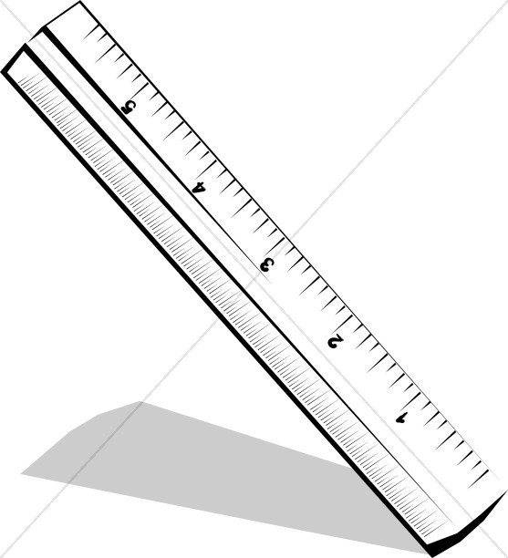 Black and white clipart ruler vector black and white stock Tilted Black and White Ruler | Christian Classroom Clipart vector black and white stock
