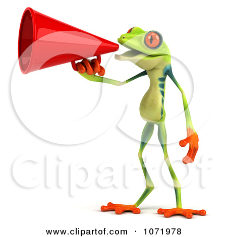 1 anno clipart graphic library Clipart 3d Argie Frog Announcing With A Megaphone 1 - Royalty Free ... graphic library