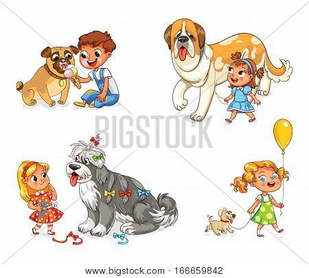 1 big 1 small dog cartoon clipart vector library library Boy and dog eating one ice-cream. Little girl walking with big St ... vector library library
