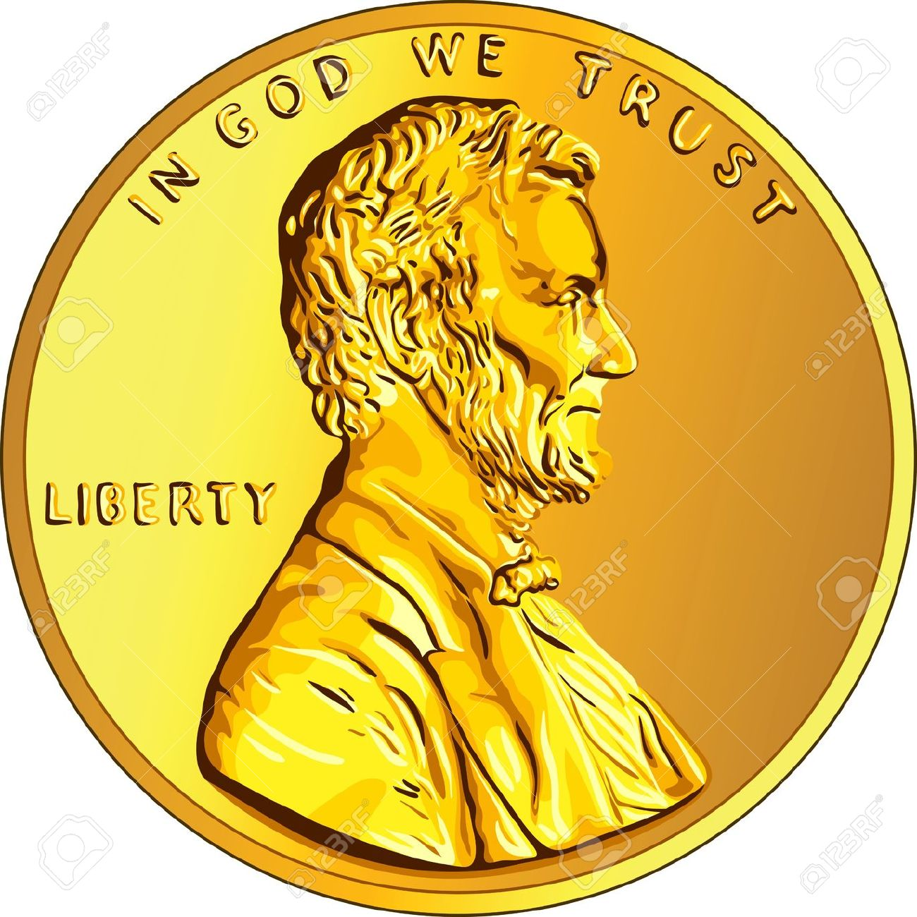 American Money, One Cent Gold Coin With The Image Of The Lincoln ... clip art library library