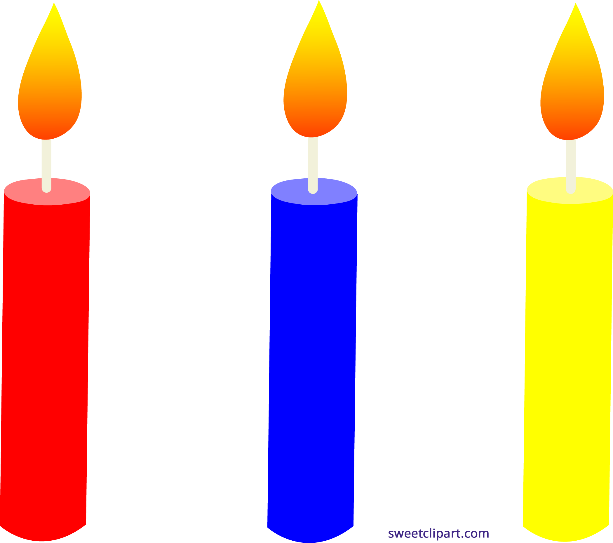 Holidays birthday candles trio. Clipart 1