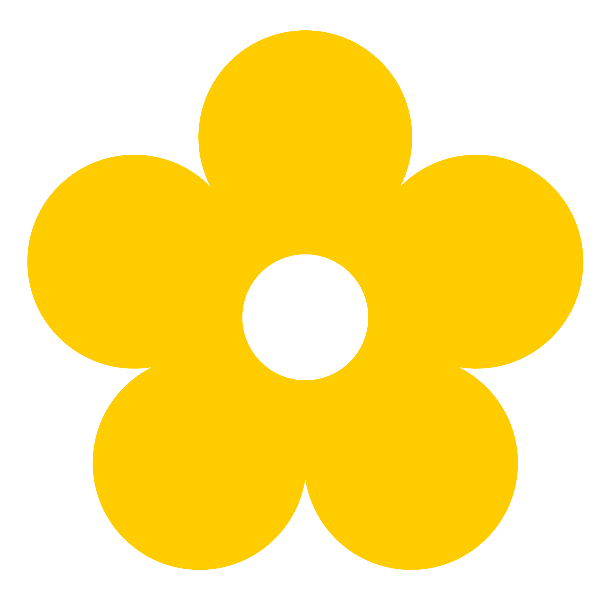 Yellow clipartfest retro flower. 1 color clipart