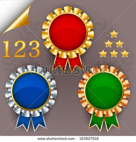1 color ribbon clipart. Three vector award badges