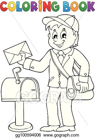 1 coloring clipart vector royalty free Vector Clipart - Coloring book postman topic 1. Vector Illustration ... vector royalty free