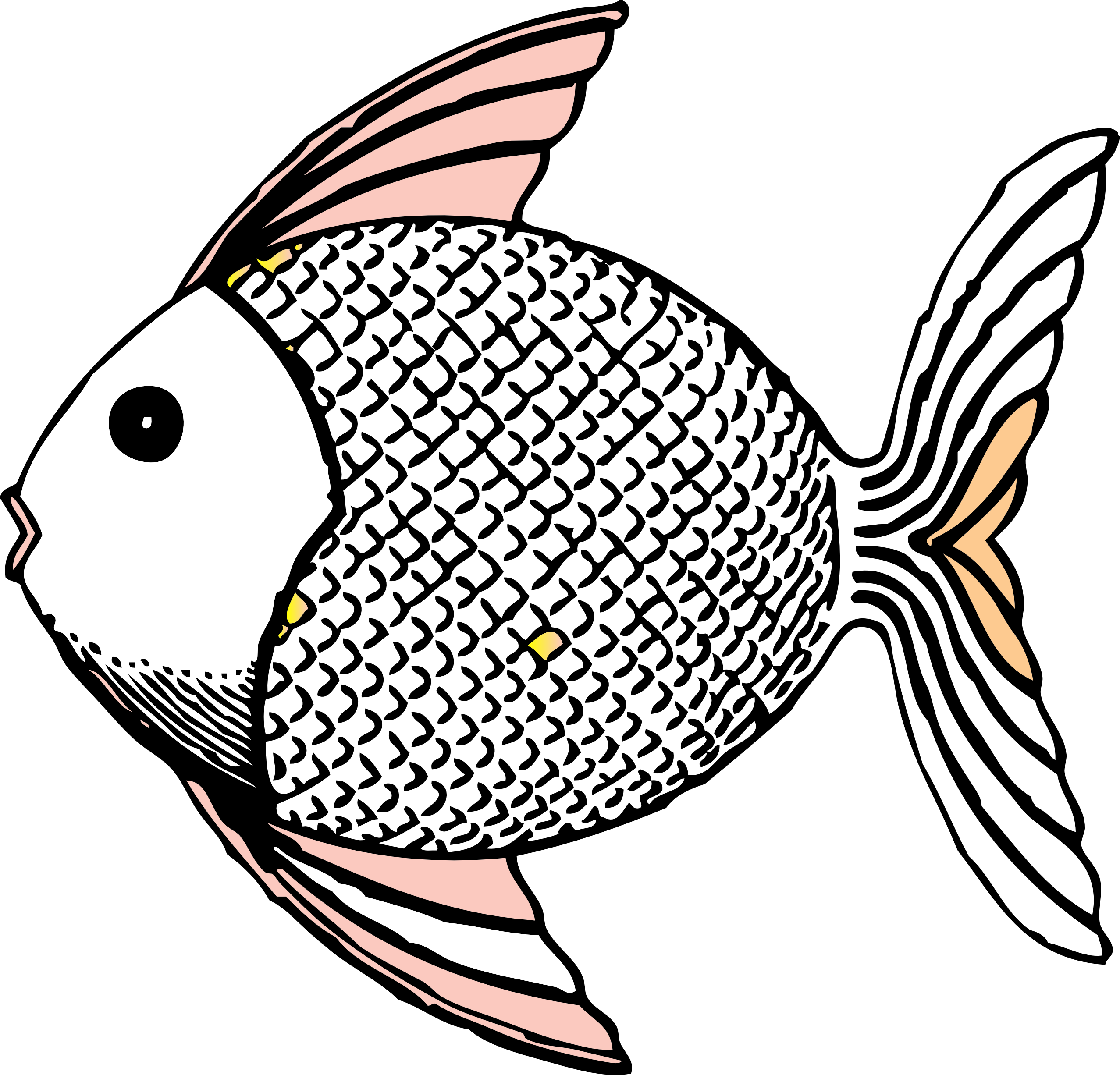 Kid fish clipart image free library Fish Clip Art Black and White | tropical fish black white line art ... image free library