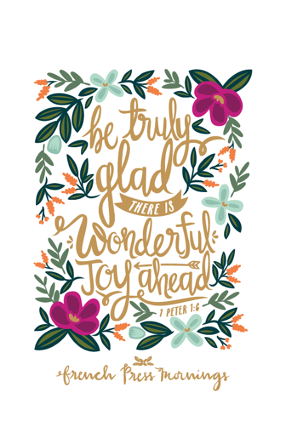 He image of peter s grandmother in the bible in clipart banner French Press Mornings - 1 Peter 1:6 | Hello Joy! co Encouraging ... banner