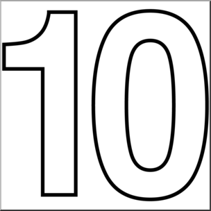 Clipart images of number 10 graphic download Clip Art: Number Set 1: 10 Outline I abcteach.com | abcteach graphic download
