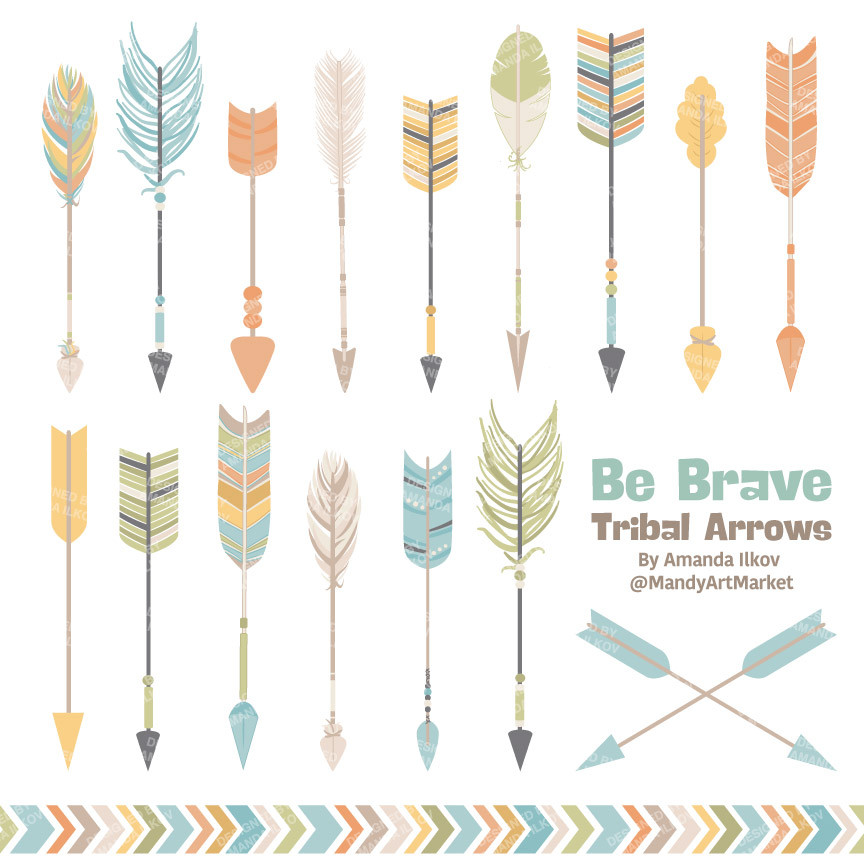 1 tribal arrow clipart clipart royalty free Tribal Arrows Clipart in Vintage Blue – Mandy Art Market clipart royalty free