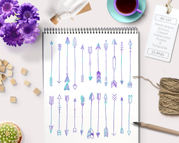 1 tribal arrow clipart clip black and white stock Watercolor Arrow Clip Art in turquoise and purple (Set 1) tribal ... clip black and white stock