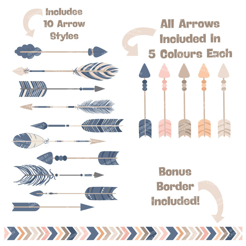 1 tribal arrow clipart image transparent Tribal Arrows Clipart in Navy & Blush – Mandy Art Market image transparent