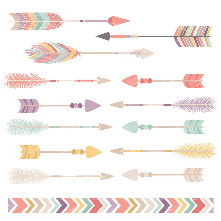 1 tribal arrow clipart vector library library Tribal Arrows Clipart in Vintage Pink – Mandy Art Market vector library library