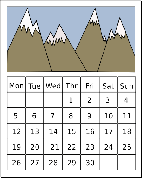 1 week calendar clipart graphic black and white library Calendar Weekly Cliparts - Cliparts Zone graphic black and white library