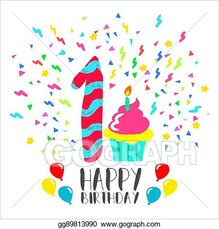 1 year anniversary cake clipart picture library library Vector Stock - Happy birthday card for 1 year baby fun party art ... picture library library
