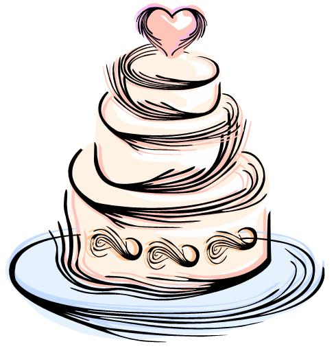 Two tiered cake clipart black and white