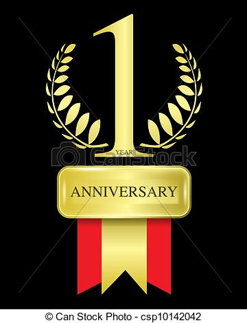 1 year anniversary celebration clipart.  vector graphics abstract