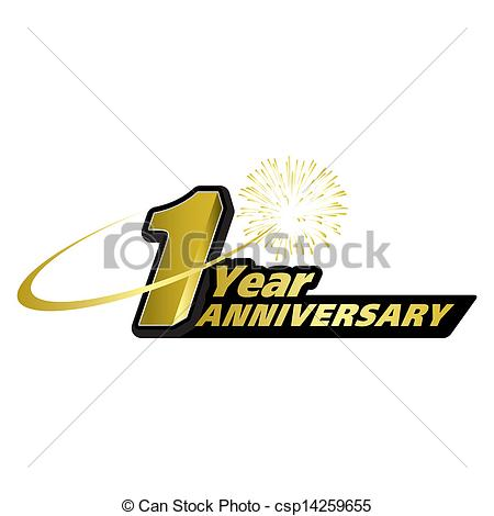 1 year anniversary celebration clipart.  vector graphics creative