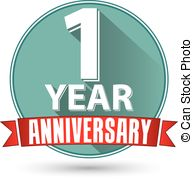 vector graphics flat. 1 year anniversary clipart