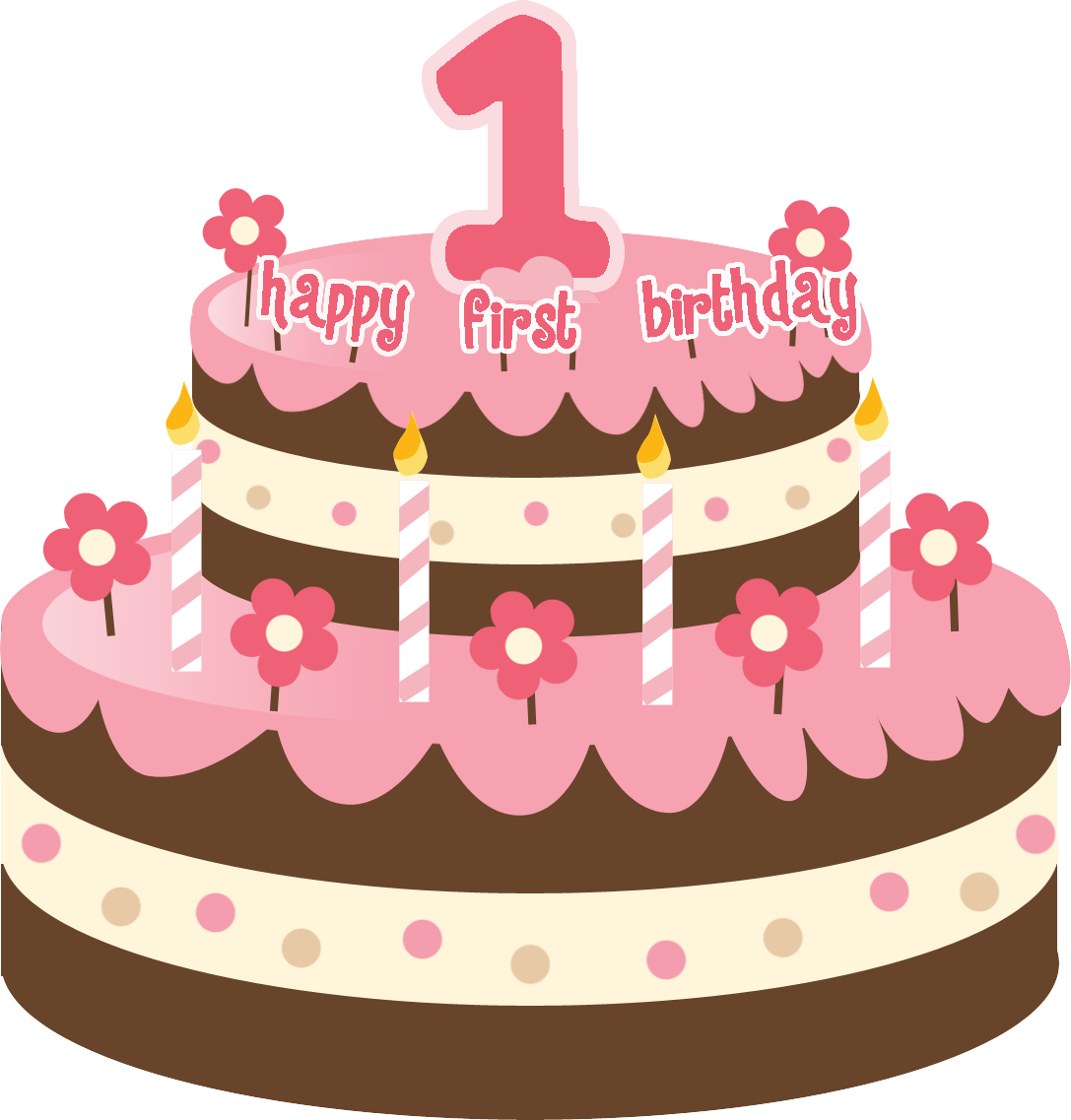 Girl 1st birthday clipart