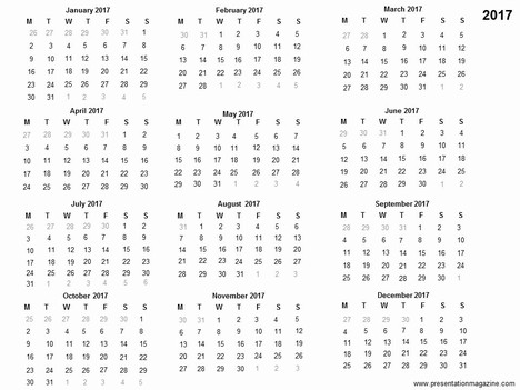 1 year calender clipart black and white Free 2017 printable calendar template black and white