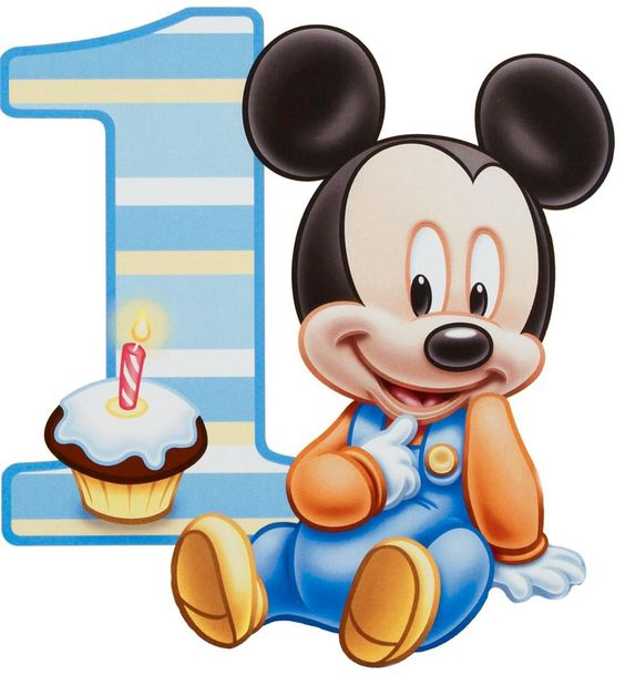 Baby mickey cake outline. 1 year old clipart