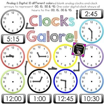 10 15 clock clipart picture freeuse stock Clock Clipart - Analog, Digital, Clock Parts, :00, :15, :30, :45 for ... picture freeuse stock