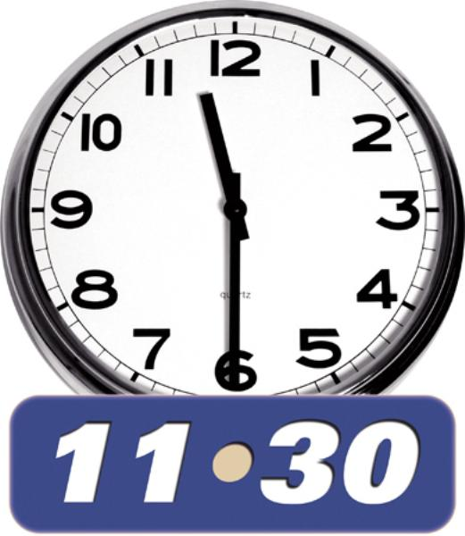 Clipart image of a clock at 11 30am