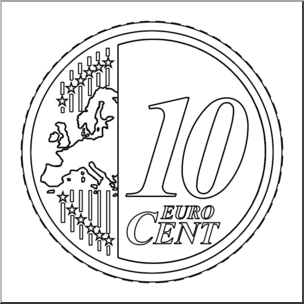 10 cent clipart vector transparent library Clip Art: Euro 10 Cent B&W I abcteach.com | abcteach vector transparent library
