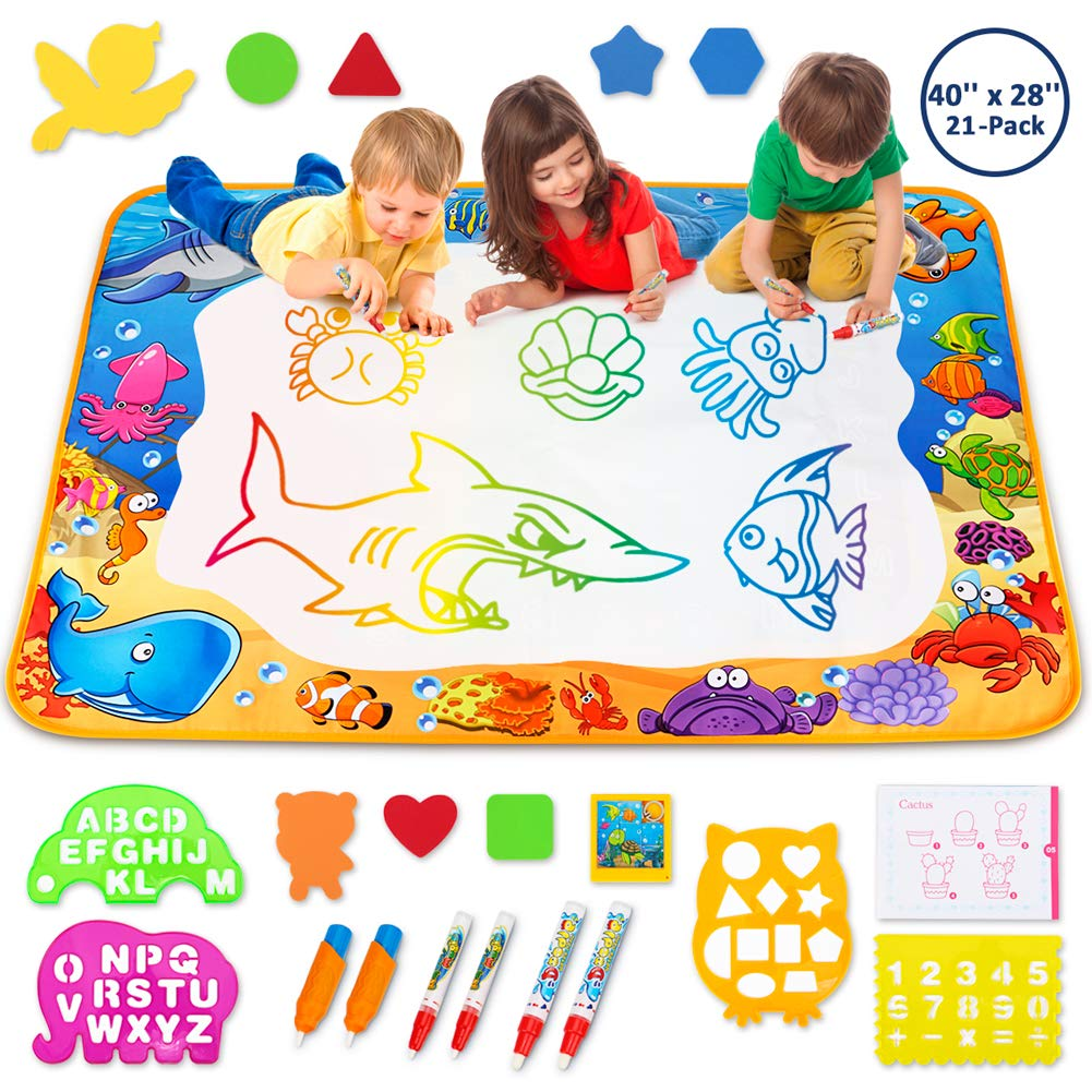 3 and a half years old clipart banner black and white Toyk Aqua Magic Mat - Kids Painting Writing Doodle Board Toy - Color Doodle  Drawing Mat Bring Magic Pens Educational Toys for Age 1 2 3 4 5 6 7 8 9 10  ... banner black and white