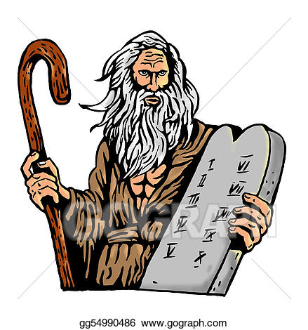 The 10 commandments clipart graphic free Stock Illustrations - Moses carrying the ten commandments on a ... graphic free