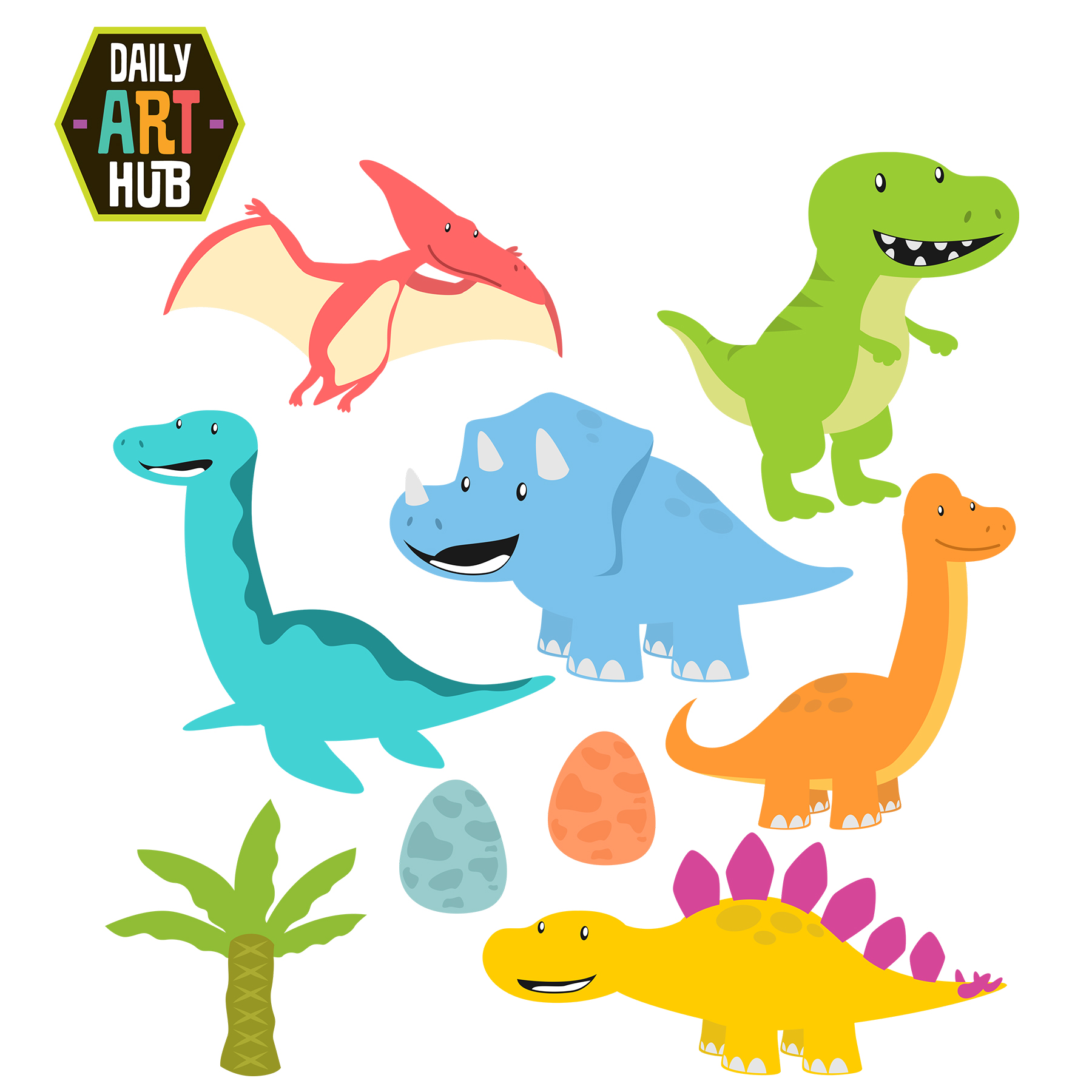 Cute Dinosaurs Clip Art Set clipart black and white download