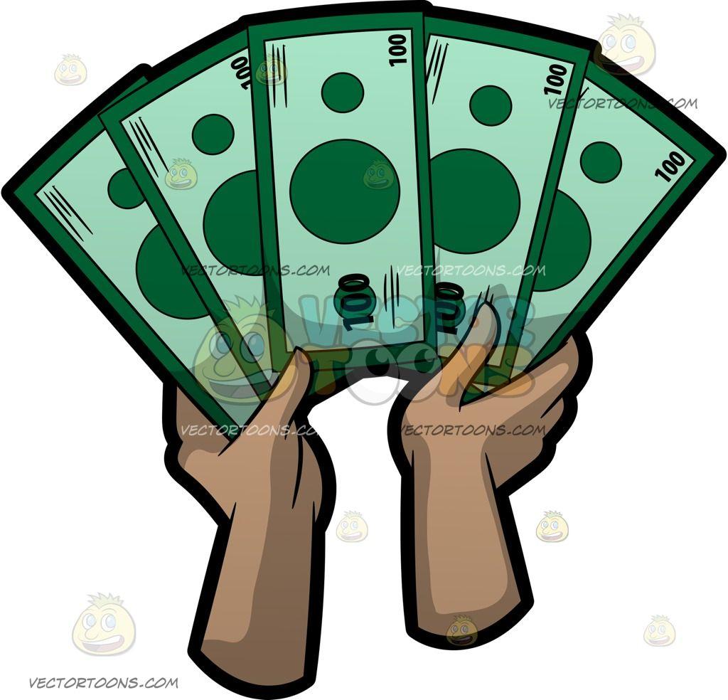 10 dollar bill pizza clipart vector transparent download Cartoon A Fan Of One Hundred Dollar Bills vector clip art with ... vector transparent download