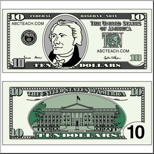 10 dollar money clipart download Clip Art: Ten Dollar Bill Color I abcteach.com | abcteach download