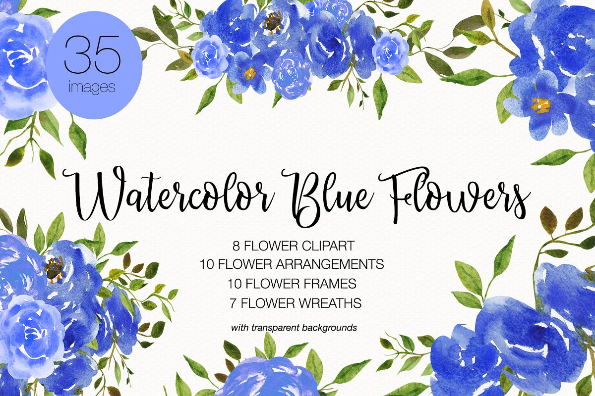 10 flowers clipart vector freeuse stock Wedding Clipart, Watercolor Flower Clipart, Invitation Card vector freeuse stock