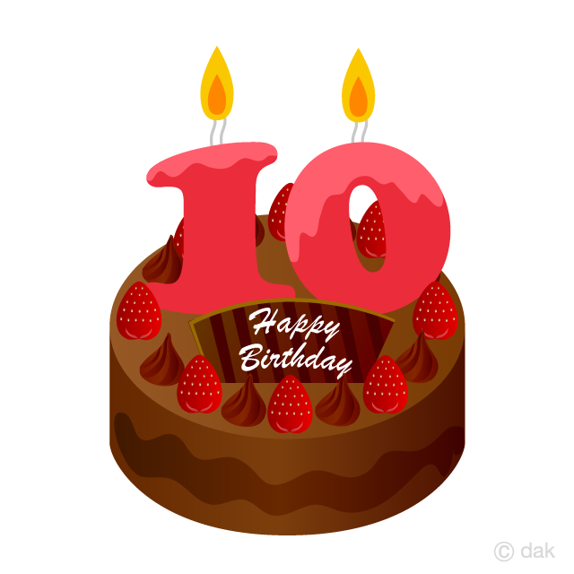 10 Years Old Candle Birthday Cake Clipart Free Picture|Illustoon clipart royalty free download