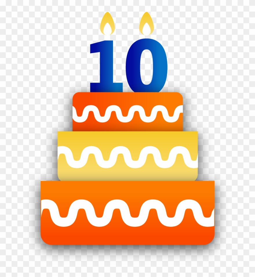 10 years cake clipart clip black and white stock Bbm Anniversary Sticker Birthday Cake - 10 Birthday Transparent ... clip black and white stock
