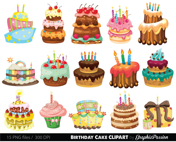 10 years cake clipart picture transparent Birthday Cake Clipart. Cake Illustration. Birthday Cake Digital ... picture transparent