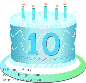 10 years cake clipart transparent stock Clip Art Image of a Blue Birthday Cake With the Number 10 transparent stock