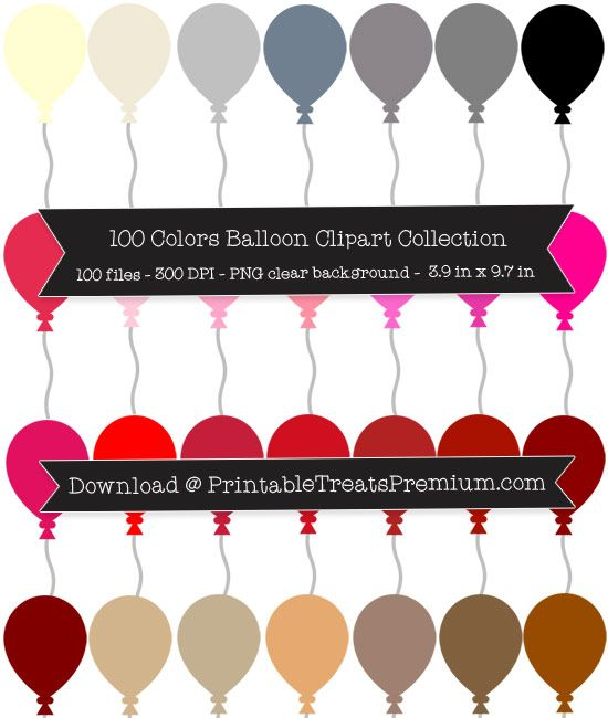 100 balloons clipart image freeuse library 100 Colors Balloon Clipart Collection | Clipart Files | Balloon ... image freeuse library