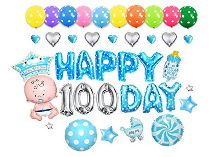 100 balloons clipart download GOER Cute Blue Alphabet Letters Foil Balloons Set Happy 100 Day Party  Decoration Supplies,Include 37 Balloons and 52 Balloon Glue download