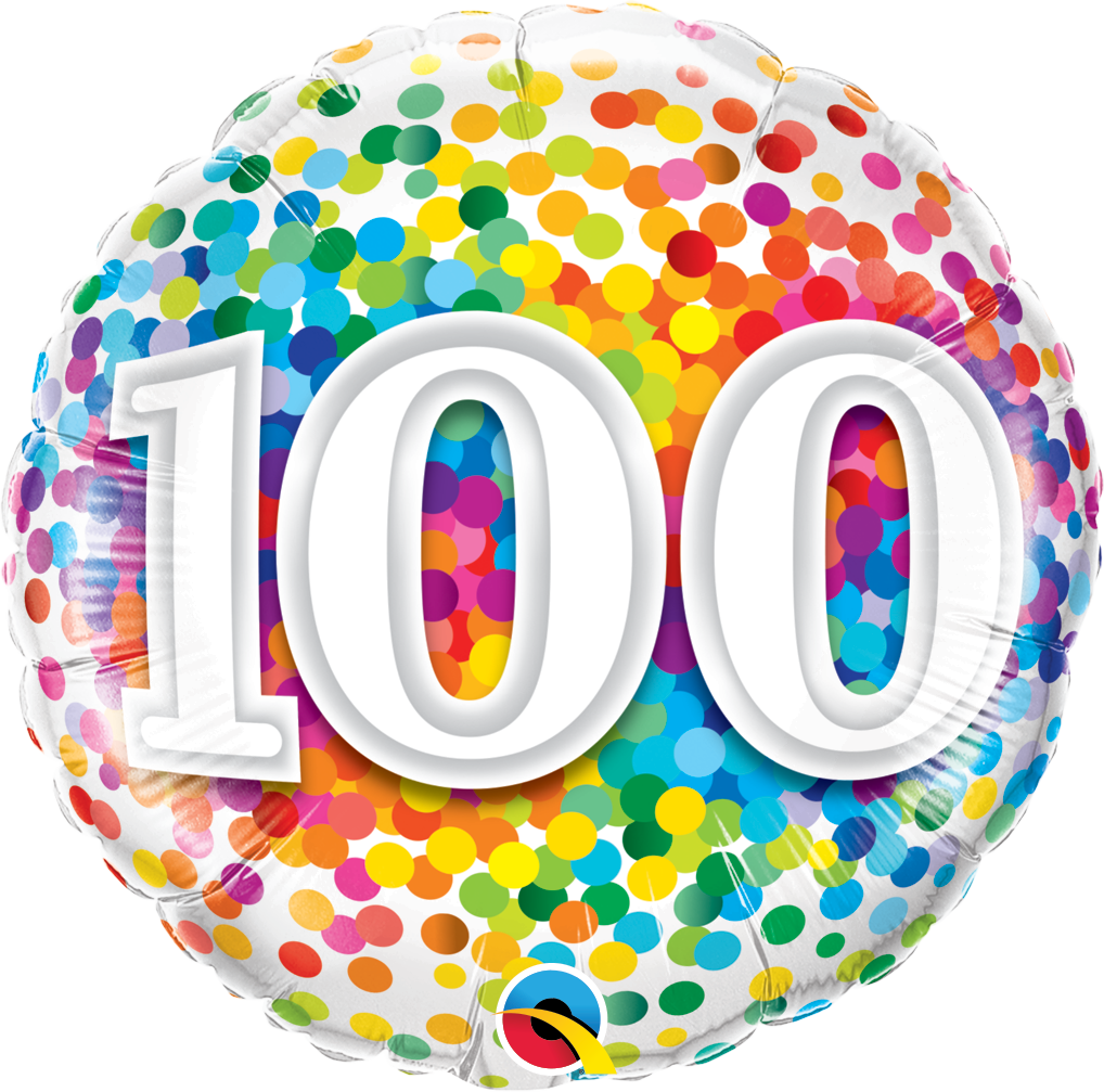 100 balloons clipart banner black and white Rainbow Confetti 100 Foil Balloon 45cm banner black and white