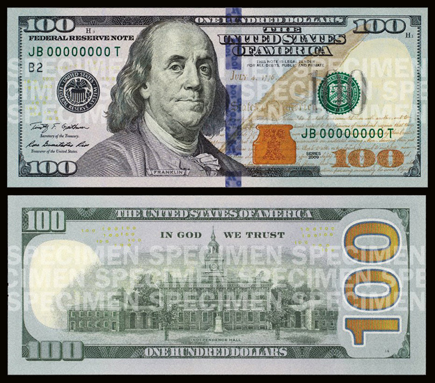 Does The New $100 Bill Have WordArt On It image transparent