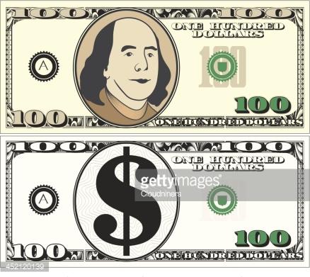 New us dollar cash. 100 bill clipart