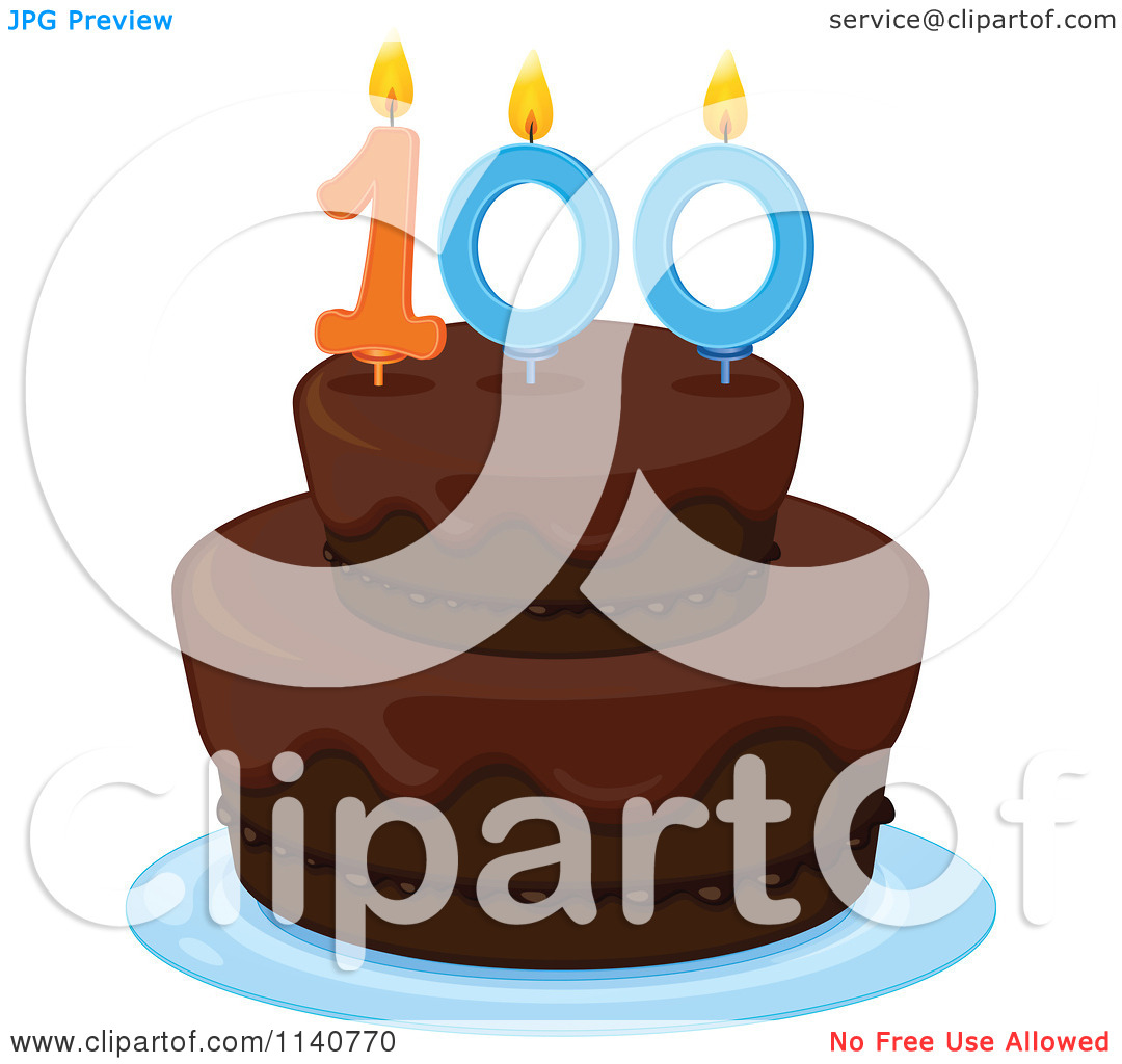 100 birthday clipart svg library stock Cartoon Of A Chocolate Birthday Cake With A 100 Candle - Royalty ... svg library stock