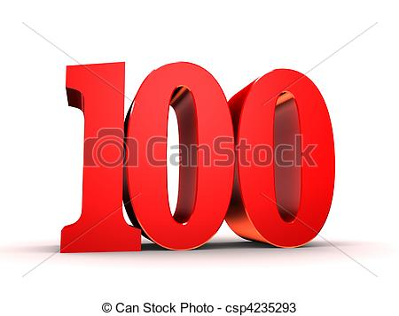 100 clipart. Number illustrations and royalty